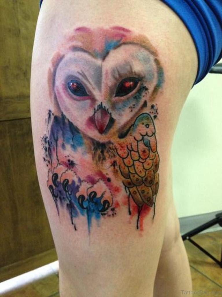 50 Wonderful Owl Tattoos On Thigh