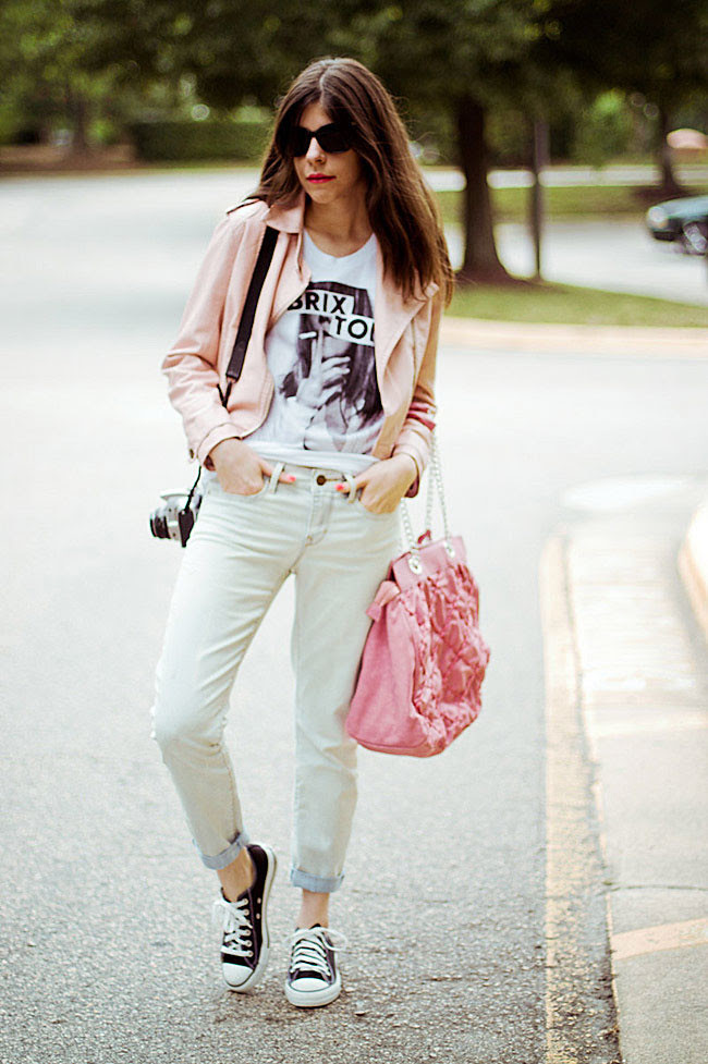 Pink leather jacket, Converse All Star Lo Top sneakers, Gap boyfriend jeans, Brashy Couture Tee, Fashion Outfit