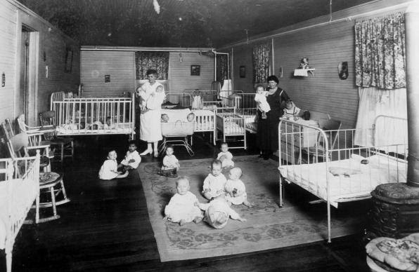 """The San Antonio, Texas brothel run by Mary """"Madam"""" Volino would in 1895 become a rescue ministry for young women in prostitution. The change came after Volino's dramatic conversion. The Methodist-supported ministry would soon shift its focus, arranging adoptions of babies born there to young women pregnant out of wedlock. This undated photo shows the infant room. Photo courtesy of Providence Place."""
