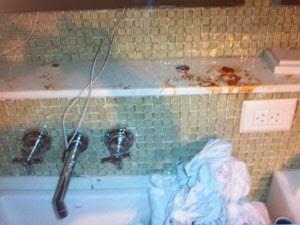 Marcas de sangue foram encontradas no imóvel (Foto: Divulgação)
