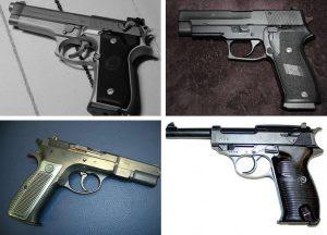 Pistolas que Gaston Glock se baseou para aprender sobre o funcionamento e uso de armas de fogo.