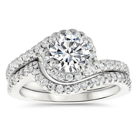 Bypass Diamond Halo Engagement Ring and Wedding Band
