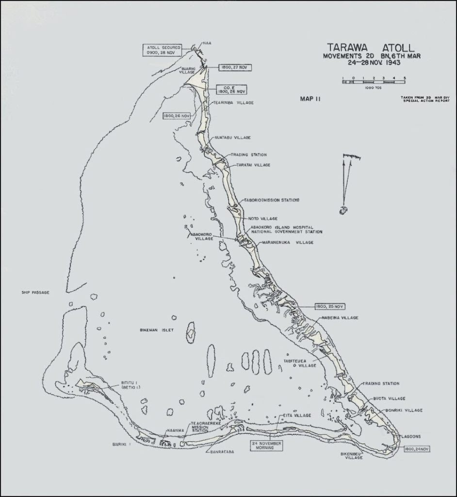 Map of Tarawa Atoll. Bititu Island (Betio Island) on lower left side of the drawing.