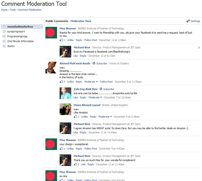 Facebook Comment Widget Moderation Tool Screenshot