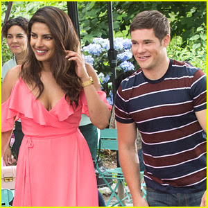 Priyanka Chopra & Adam Devine Share a Laugh on Set of 'Isn't It Romantic'