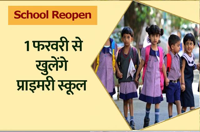 Primary School Reopening Date: सरकार का बड़ा फैसला, 1 फरवरी से खुलेंगे प्री-प्राइमरी स्कूल