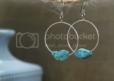 Turquoise blue hoop earrings