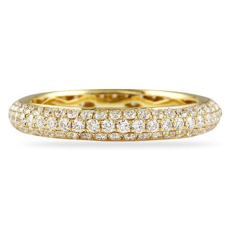 1.0CT ROUND DIAMOND 3 ROW PAVE YELLOW GOLD ETERNITY BAND