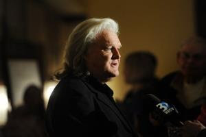Ricky Scaggs talks to the media before Billy Graham's 95th birthday party at the Grove Park Inn in Asheville, NC.
