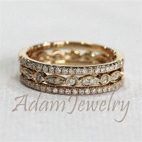 Discount! 3 HALF Eternity Bands Solid 14K from AdamJewelry on