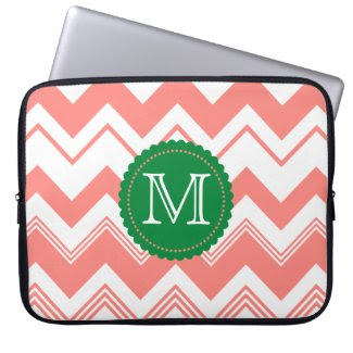 Coral White Monogram Chevron Pattern Laptop Sleeve