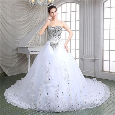 Luxury Ball Gown Corset Back Heavy Beaded Crystal Wedding