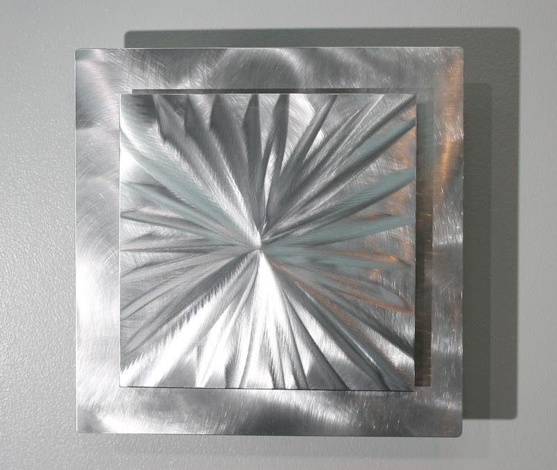 Metal Abstract Modern Silver Wall Art Sculpture ...