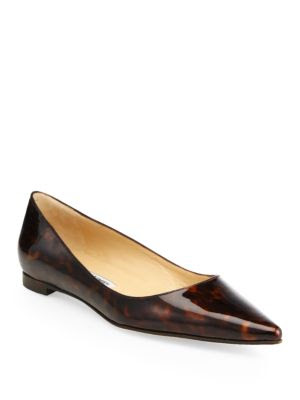 Manolo Blahnik BB Tortoise-Print Patent Leather Flats
