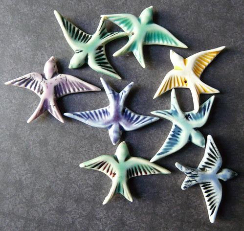 Birds - Porclelain Jewelry Components