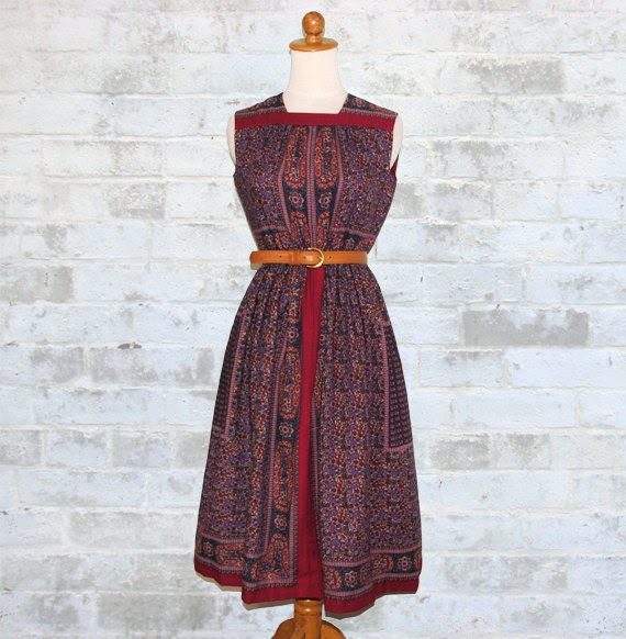 The Vintage 70's Hippie Indian Paisley Dress S or M