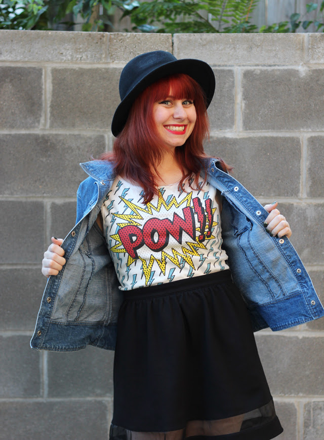Pow!! Tank Top with a Jean Jacket