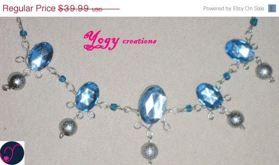 SALE 10% Off Light blue crystal glass silver bead victorian chain necklace jewelry gift by Yogy's