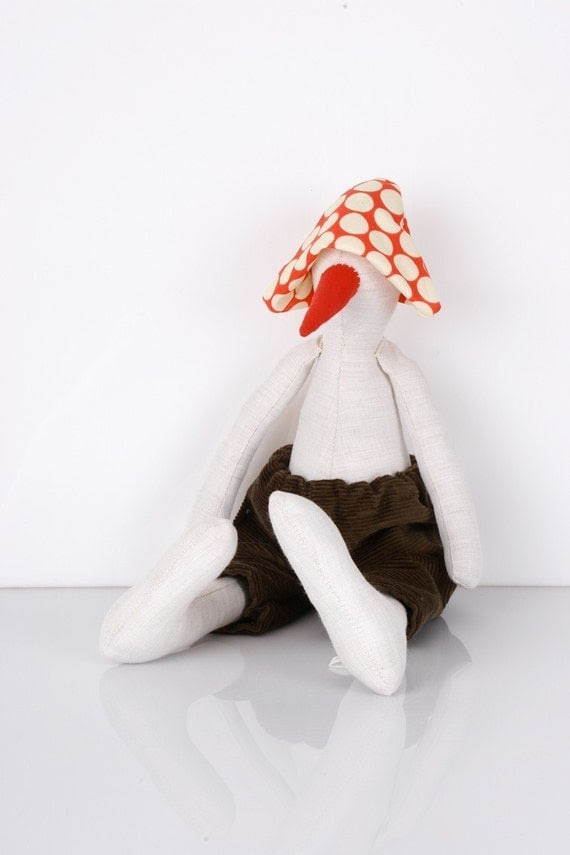 White Bird, duck or maybe a penguin... in White & red dotted hat and  Deep olive green corduroy -handmade fabric doll