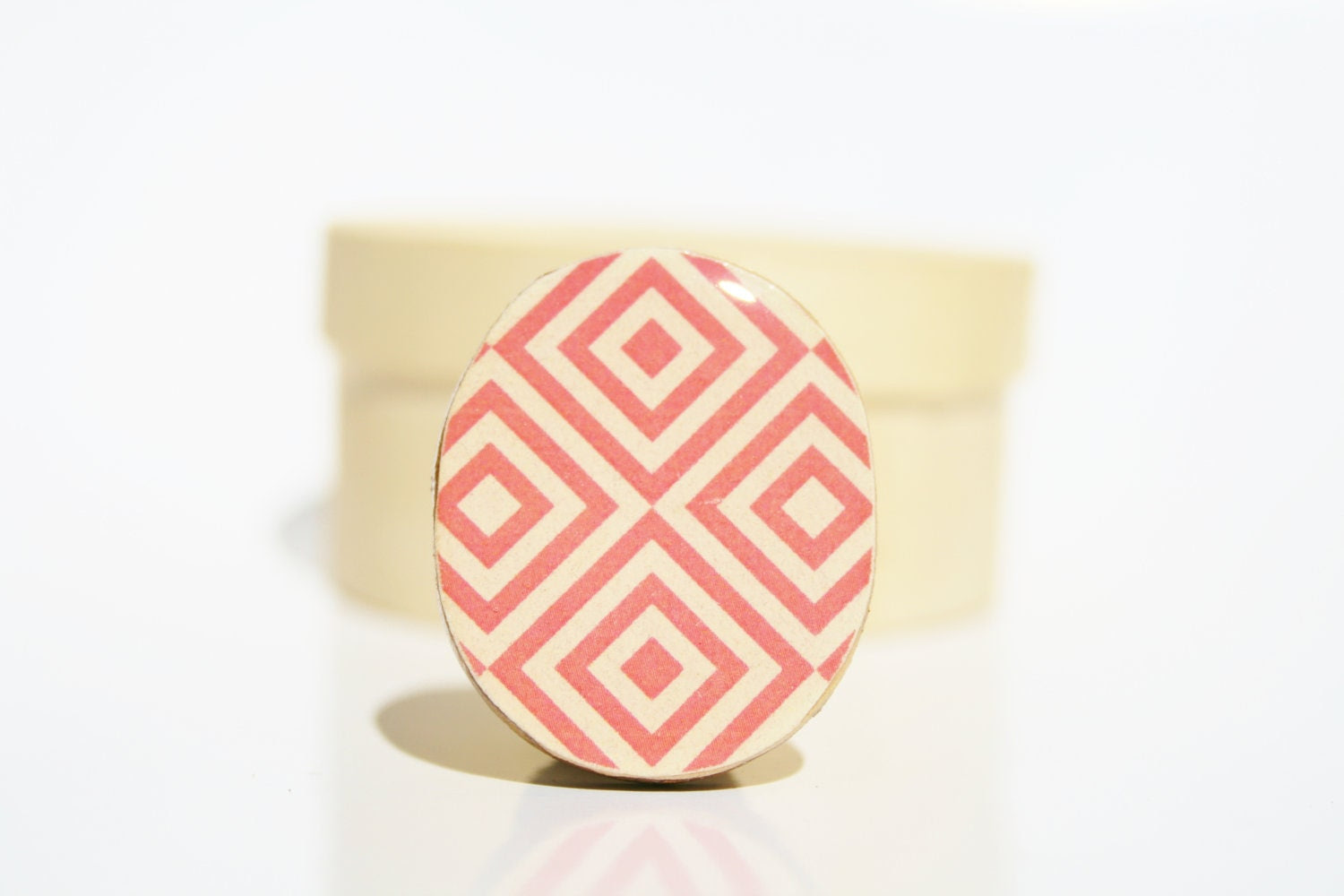 summer Cocktail Ring. pink mod pattern Adjustable ring. Summer jewelry geometric eco friendly statement ring. Summer fashion Starlight Woods - starlightwoods