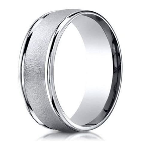 Men's palladium wedding ring in wired finish  6mm: Just