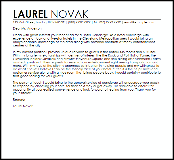 Hotel Concierge Cover Letter Sample Cover Letter
