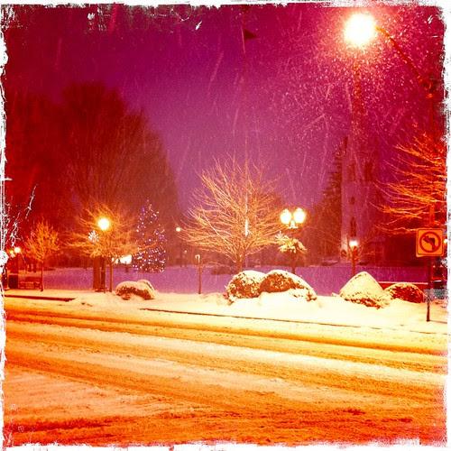 snowy street lamp