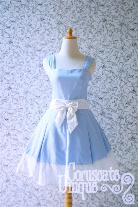 Blue ALICE IN WONDERLAND Dress White Ribbon Pleated
