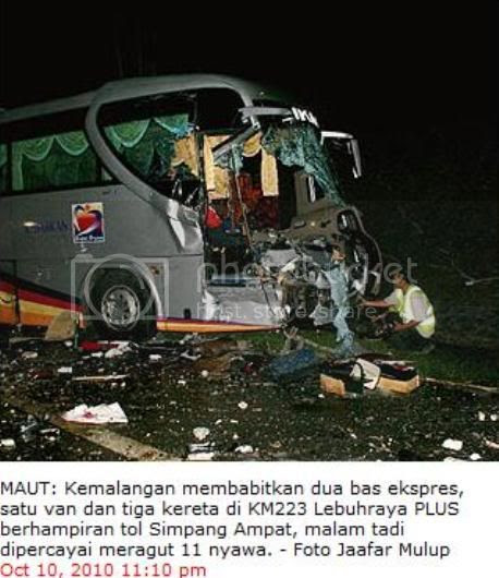 Malacca KL Accident,Simpang Ampat Toll Accident,North-South Highway Accident,Delima Express Accident,Alor Gajah Accident,Accident on the 10th of October 2010,Delima Express Bus
