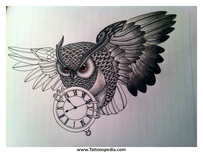 Owl Clock Tattoos Meaning