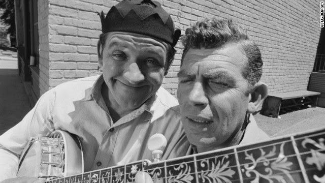 "George Lindsey, left, poses with Andy Griffith for a photo during the taping of ""The Darling Fortune,"" an October 1966 episode of ""The Andy Griffin Show."" Lindsey's character joined the hit sitcom in 1964."