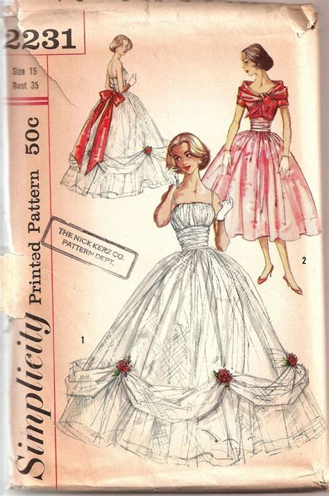 Vintage 1950s Simplicity Ball Gown Pattern 2231   My