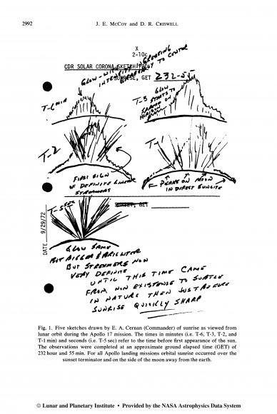 Lunar sunrise sketches drawn by Commander E. A. Cernan during the Apollo 17 mission. Credit: NASA