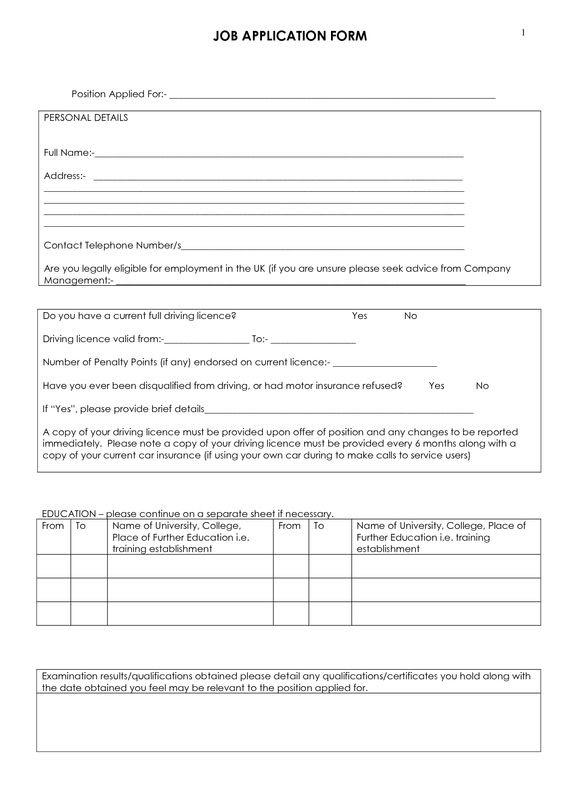 Job Application Form To Print Blank Job Application