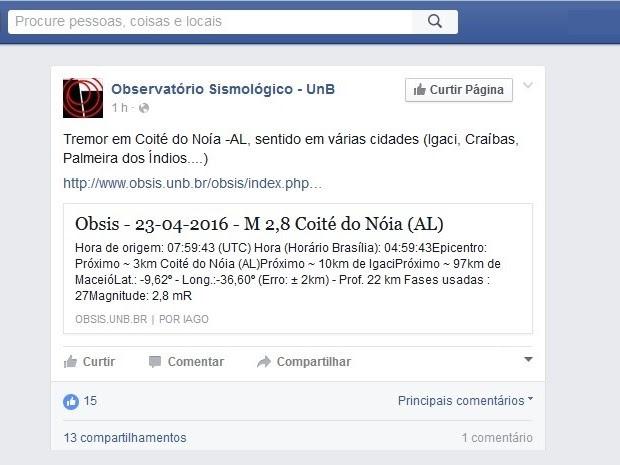 Observatório Sismológico de Brasília divulgou informação na manhã deste sábado (23) (Foto: Reprodução)