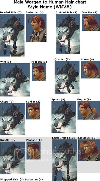 Primal Precision Male Worgen To Human Hair And Beard Charts