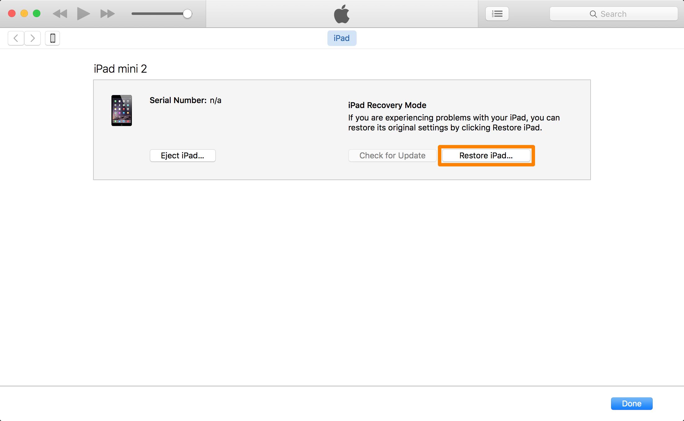 Restore iPad Prompt iTunes