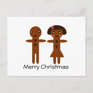 Gingerbread Man and Girl Merry Christmas Postcard