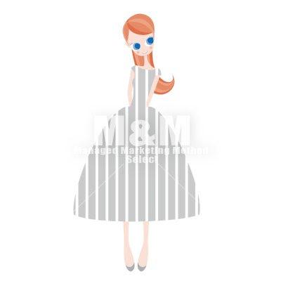 イラスト素材 Woman 07 ライトグレイの縦ストライプドレスの女の子
