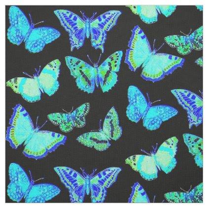 Spooky Blue Black Butterfly Moth Fabric