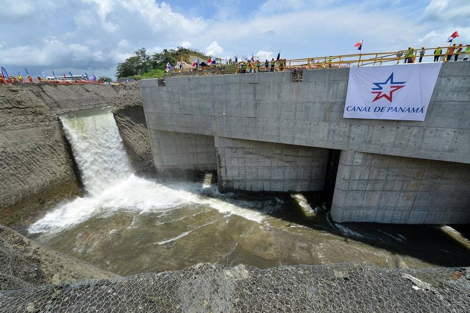 Water rush into the lower chamber of new 11-story locks on the Atlantic side of the Panama Canal expansion.