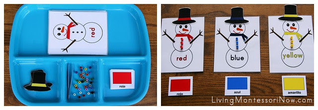 Snowman Spanish Color Activity