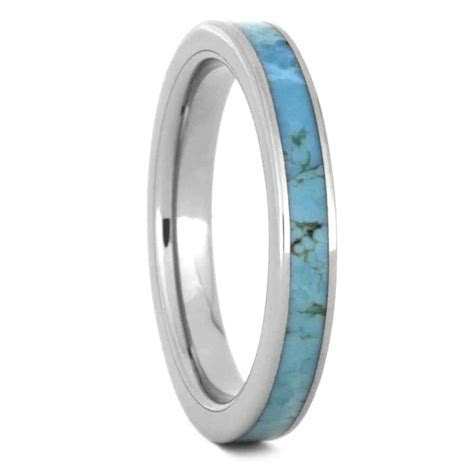 Turquoise Wedding Band For Women Made in Titanium 3505
