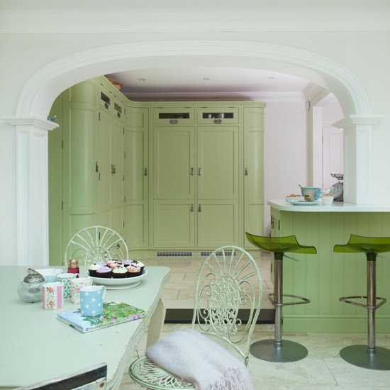 Green Shaker kitchen-dining area | housetohome.