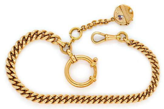 Foto 1, Gold Uhrkette Rubin Safir Diamant Perl Medaillon Luxus!, K2142