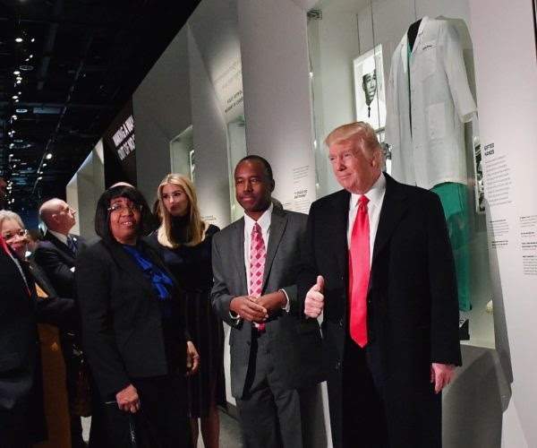 photo: Kevin Dietsch/Getty via CNNPolitics/Instagram. caption: President Donald Trump visits the National African American Museum of History and Culture on Tuesday in light of #BlackHistoryMonth. Here, Trump poses with his daughter Ivanka Trump, Housing and Urban Development nominee Ben Carson and his wife, Candy Carson, in front of the museum's Ben Carson exhibit.