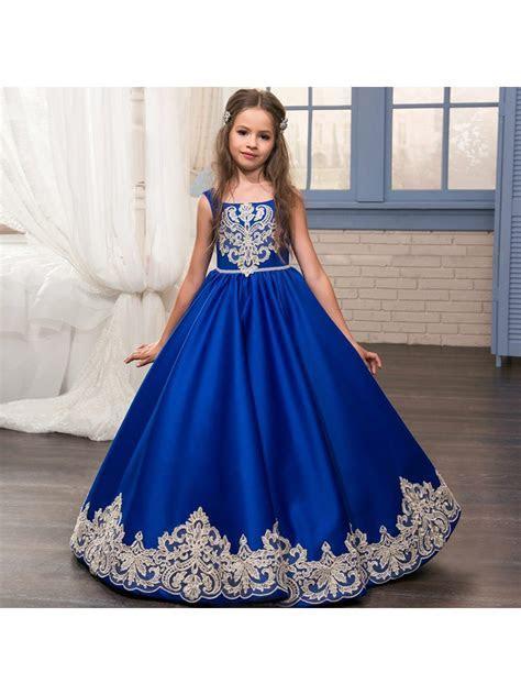 Lace Appliques Blue Princess Ball Gown Flower Girl Dresses
