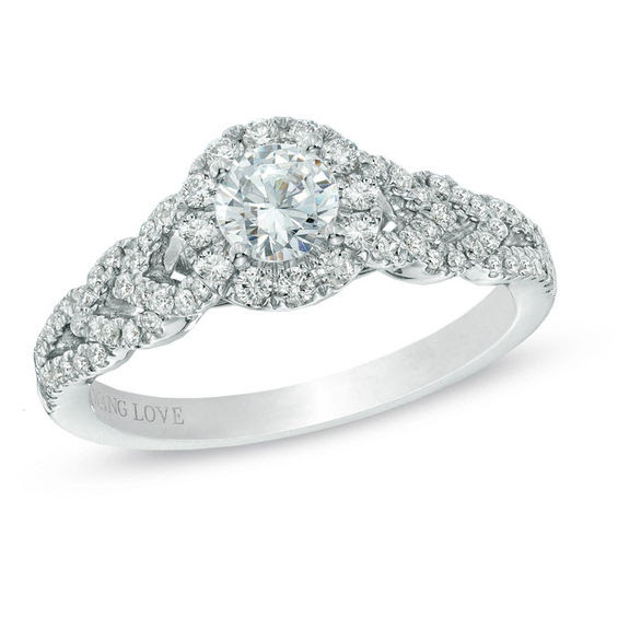 Vera Wang Love Collection 34 Ct Tw Diamond Frame Engagement Ring