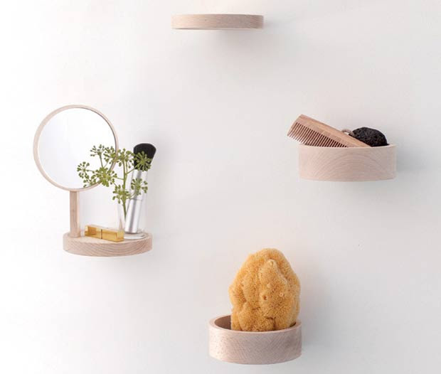 Minimalist Shelving System Of Natural Beech | DigsDigs