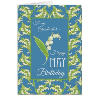 Lilies May Birthday Card, Blue: Grandmother